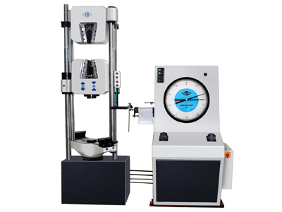 A hydraulically operated universal testing machine along with power-pack and an analogue dial to measure the test results.